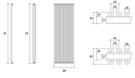 DQ Double Quick Cube Double Vertical Radiator