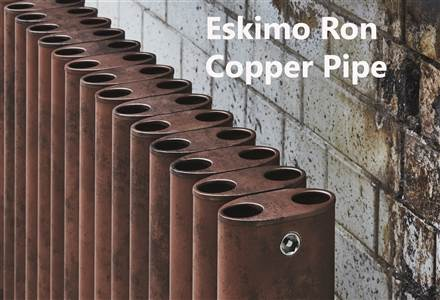 Eskimo Ron and Leggy Ron Shipyard, Copper Pipe and Antique Finish Aluminium Radiator 1000mm High
