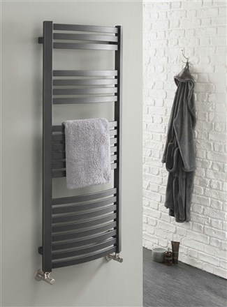 The Radiator Company Griffin Curved Chrome Heated Towel Rail