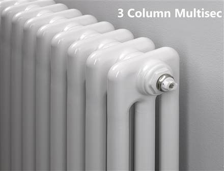 MHS Multisec 3 column Radiator - 300mm Height - White