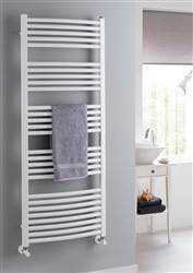 The Radiator Company Poppy Electric Curved White Heated Towel Rail
