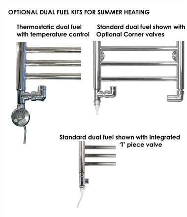 SBH SS203 Midi Half Moon Stainless Steel Heated Towel Rail