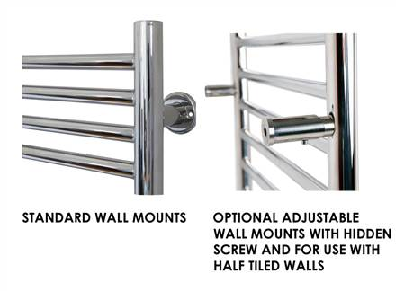 SBH SS101-8 Maxi Flat 8 Bar Straight Stainless Steel Heated Towel Rail