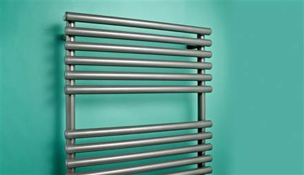 Bisque Straight Fronted Anthracite Heated Towel Rail