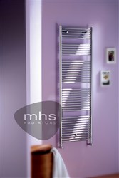 MHS Sunny Electric Chrome & Black Heated Towel Rail
