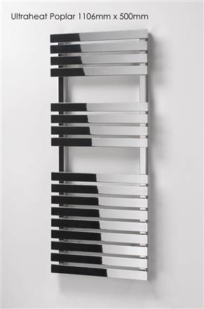 Ultraheat Poplar White & Black Heated Towel Rail