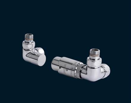 Bisque Valve Set M Double Angled Thermostatic Radiator Valves