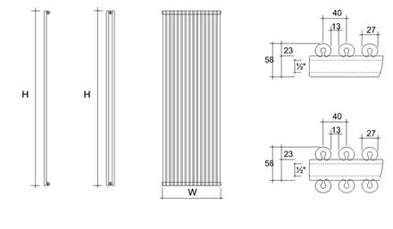 DQ Double Quick Vulcano Double Vertical Radiator