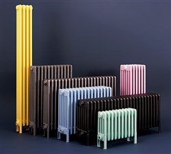 Bisque Classic 4 Column Radiators with Welded Feet - Volcanic