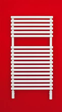 Bisque Straight Fronted White Heated Towel Rail