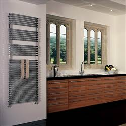 Bisque Straight Fronted Chrome Heated Towel Rail