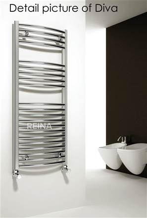 Reina Diva Black Curved Heated Towel Rail