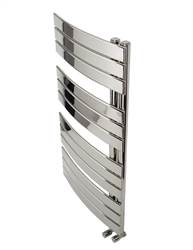 Apollo Palermo Chrome Flat Panel Curved Offset Towel Warmer